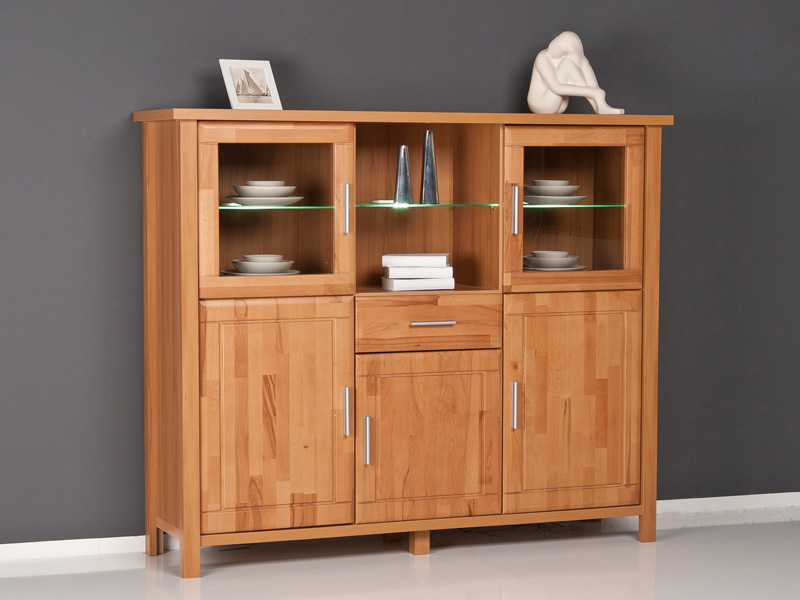 highboard kommode anrichte kernbuche fronten massiv ebay. Black Bedroom Furniture Sets. Home Design Ideas