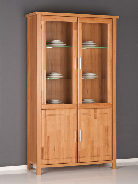 vitrine glasvitrine kernbuche mit fronten in massiv ebay. Black Bedroom Furniture Sets. Home Design Ideas