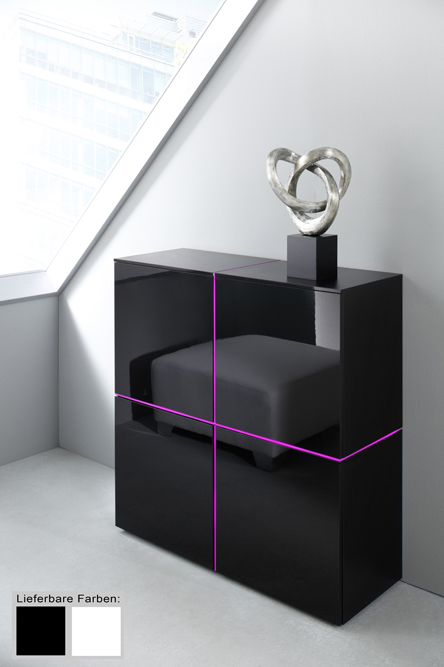sideboard kommode raumteiler highboard wei o schwarz hochglanz mit beleuchtung ebay. Black Bedroom Furniture Sets. Home Design Ideas